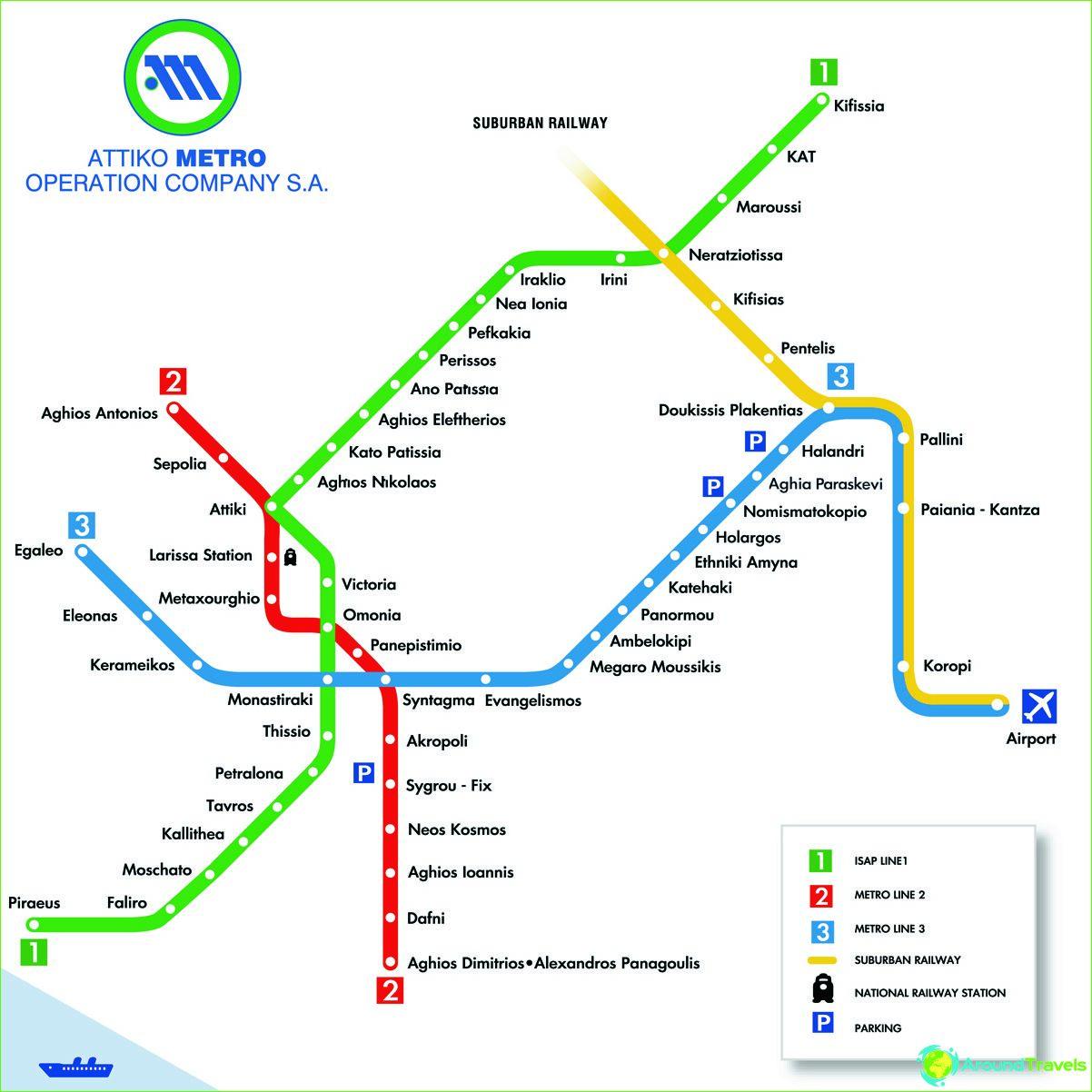Карта на метрото в Атина