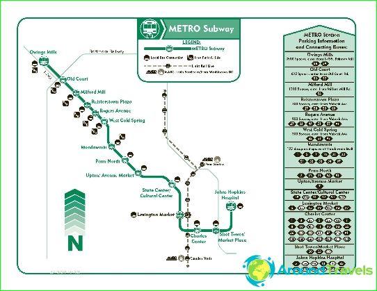 Métro de Baltimore: diagramme, photo, description