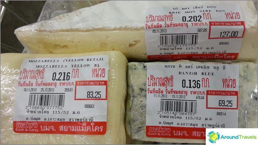 Macro Mozzarella on 359 bahtia / kg, Brie 587 bahtia / kg, vihreällä muotilla 476 bahtia / kg