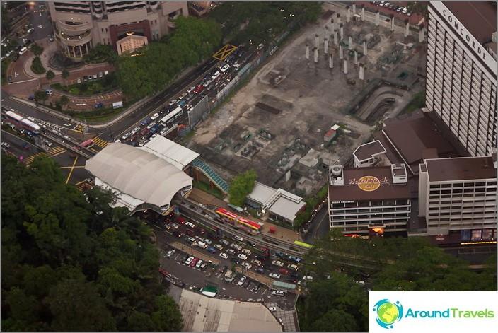 Monorail-asema Kuala Lumpurissa korkeudesta