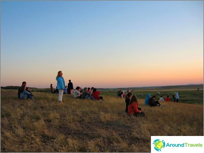 Arkaim. Auringonlasku Shamanka-vuorella.