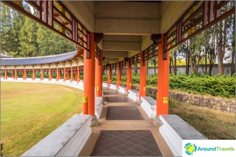 Peitetty galleria, joka yhdistää pagoodit toisiinsa