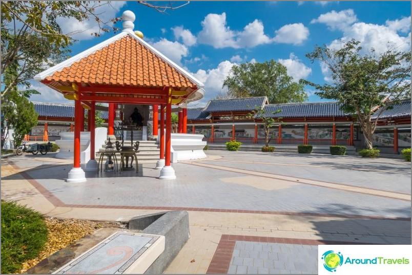 Veistos kiinalaisesta jumaluudesta katon alla ja seinällä puistoa pitkin, maalauksilla laatoilla