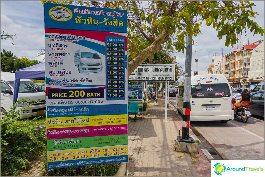 Minibussi aikataulu ja hinta Hua Hin - Bangkok-lentokentälle
