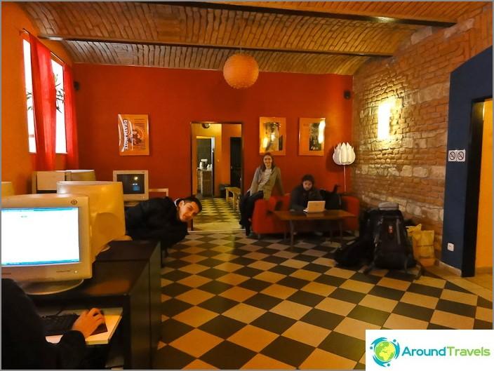 Зала на хостела ни в Прага