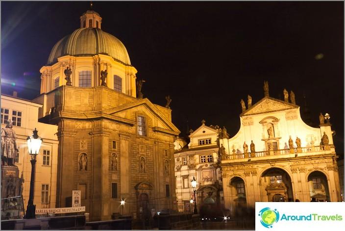 Център на Прага, стар град вечерта