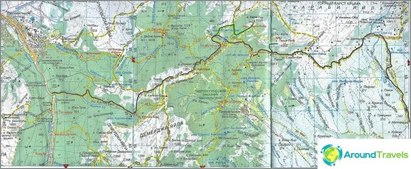 Kartta turistireitistä Kurluk Su - Tyrke - Karabi - Rybachye