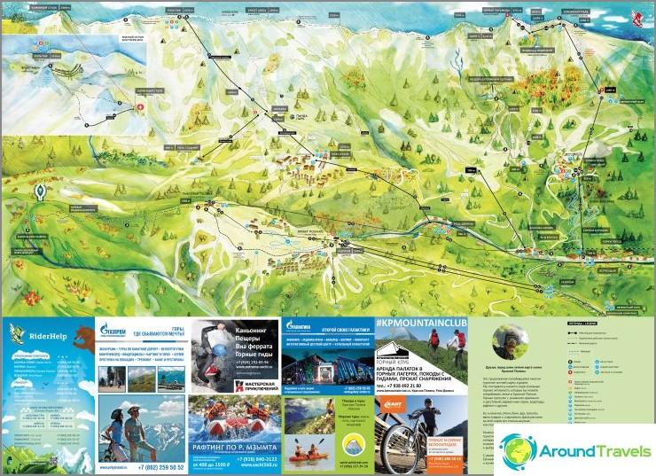 Krasnaya Polyana -kartta kesällä