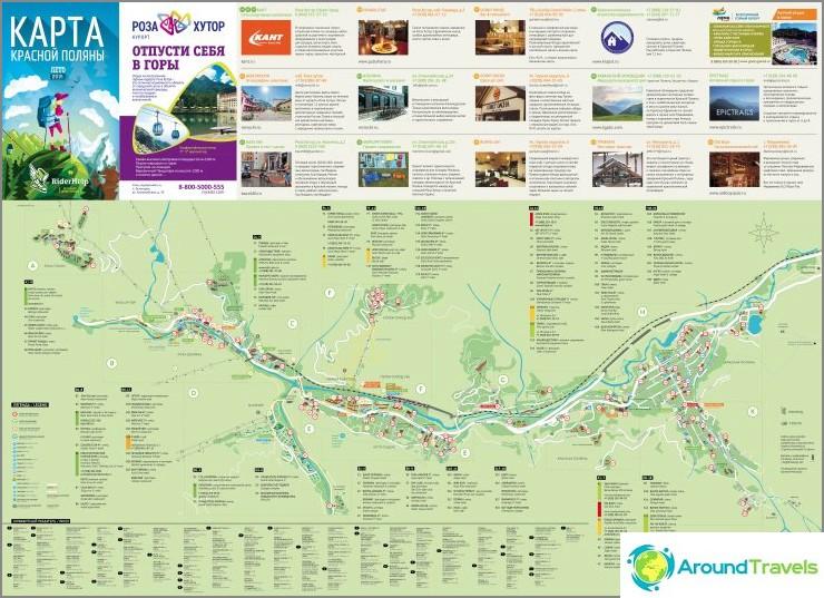 Krasnaya Polyanan kartta (napsautettavissa)