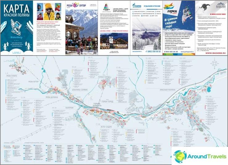 Kartta kaikista Krasnaya Polyanan kylistä talvella (napsautettavissa)