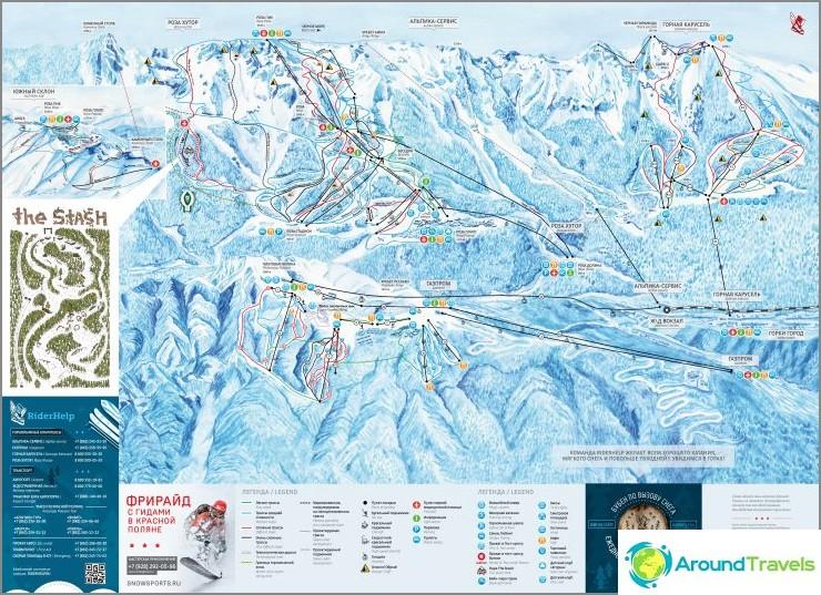 Kartta hiihtorinteistä Krasnaya Polyana