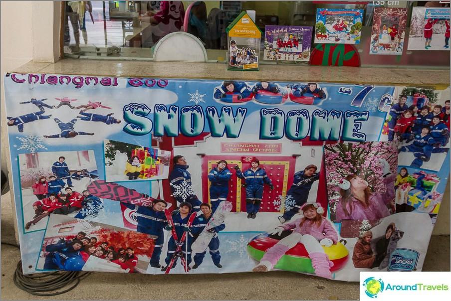 Snow Dome pandaiden vieressä, siellä on jopa -7 astetta!