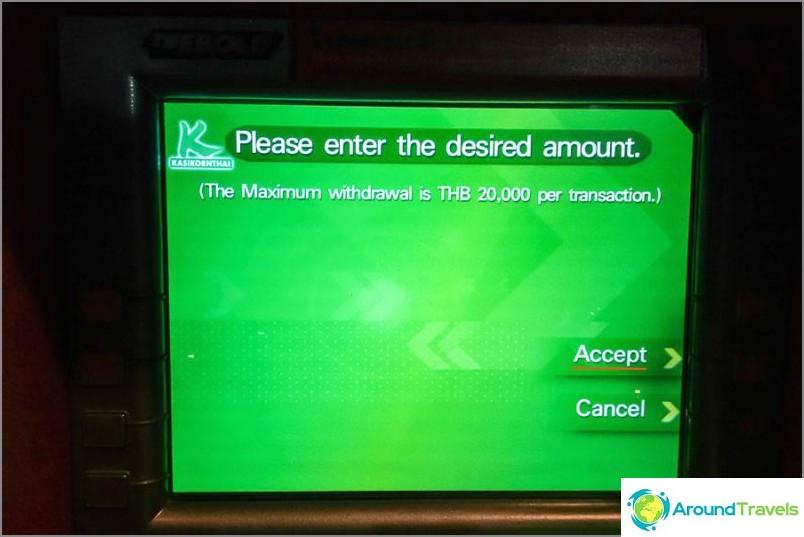 Geldautomaten in Thailand - Anweisungen zum Abheben