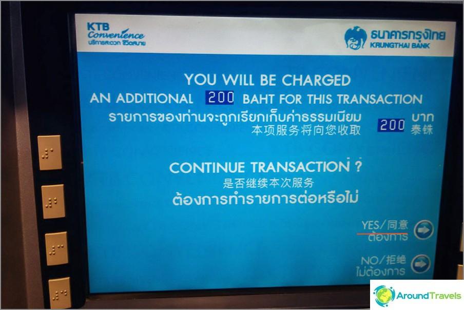 Hier stimmen Sie der Provision von 200 Baht zu (es gibt keine andere Option)