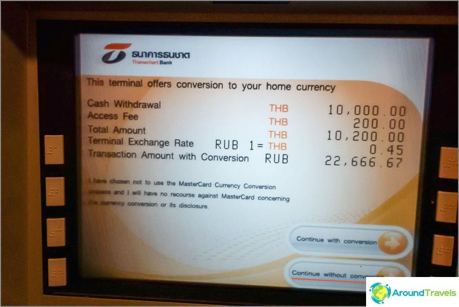 Verweigern Sie die Umstellung, die der Geldautomat selbst durchführt, dies ist in der Regel nicht rentabel