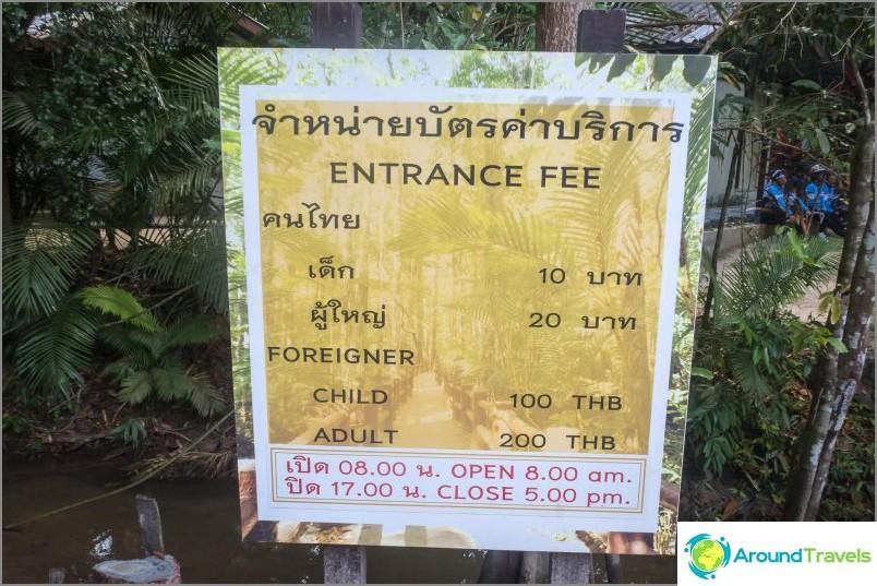 Pääsylippujen hinta. Ei Thai - maksat 10 kertaa enemmän.