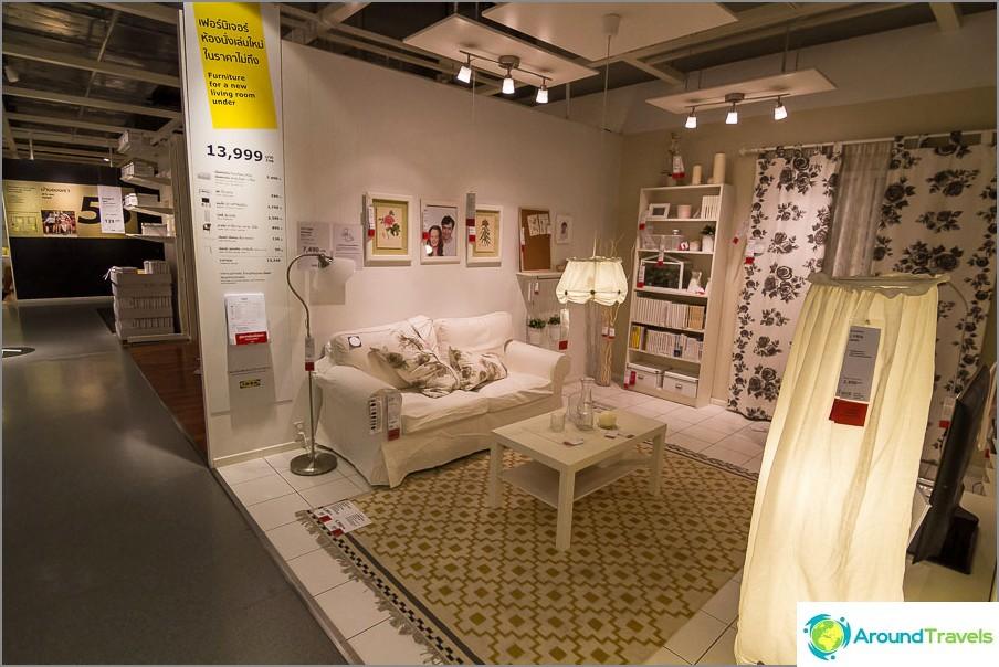 Tavallinen näyttelytila Ikean pohjakerroksessa