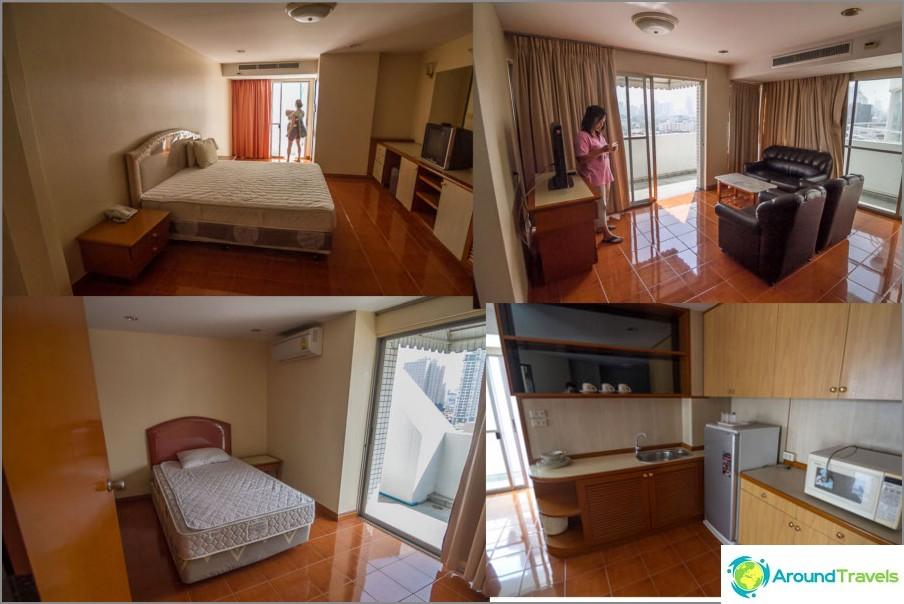2 makuuhuoneen huoneistoja 33 000 bahtia, 80 m2