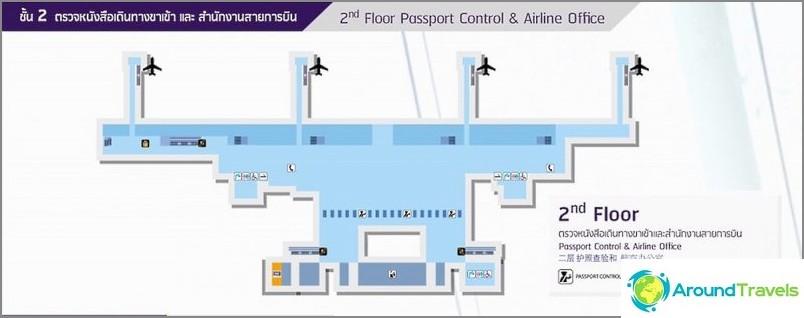 Втори етаж - паспортен контрол и офиси на авиокомпании