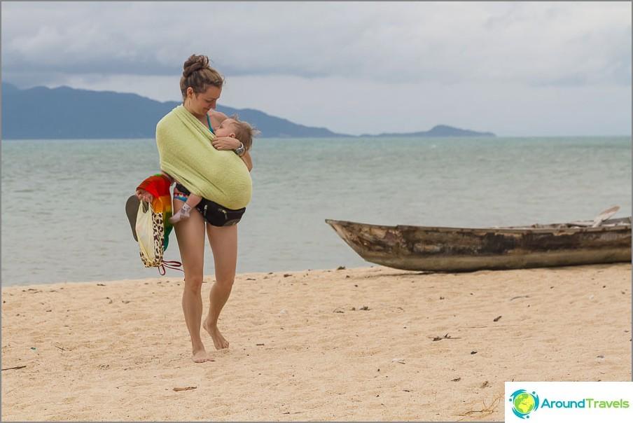 Семейството се завръща от плажа