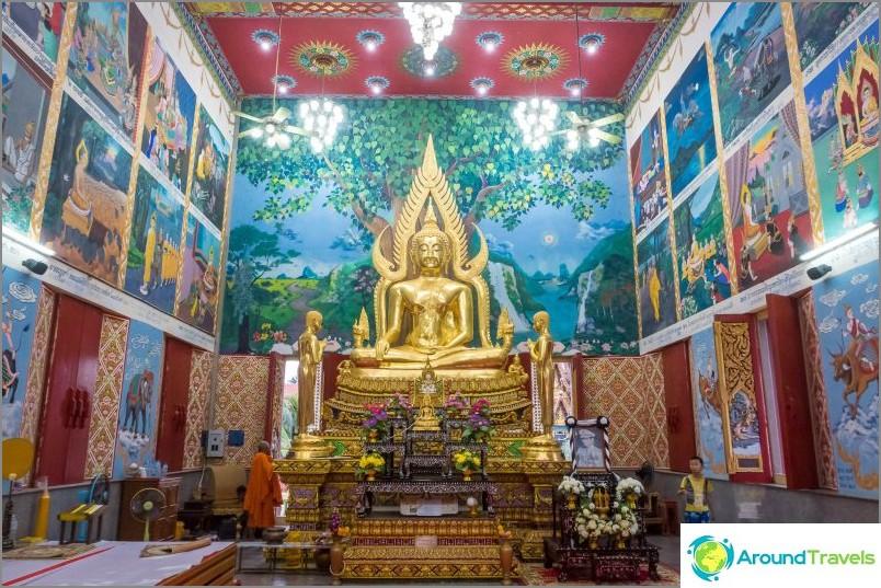 Pelaa Lam-temppeliä sisäpuolella, seinät on sisustettu Ramayanan kuvilla