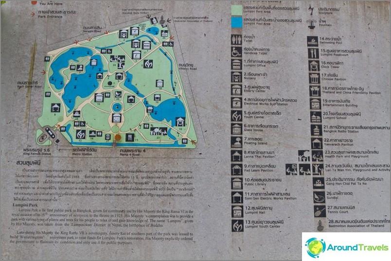 Kartta Lumpini Parkista Bangkokissa