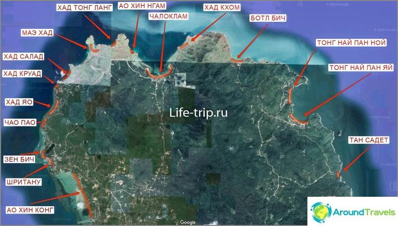 Kartta Phanganin rannoista pohjoisessa