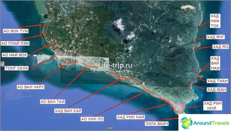 Kartta Phanganin rannoista etelässä