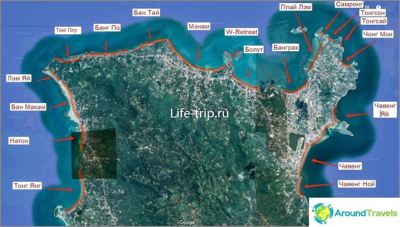 Карта на плажовете Самуи, Север
