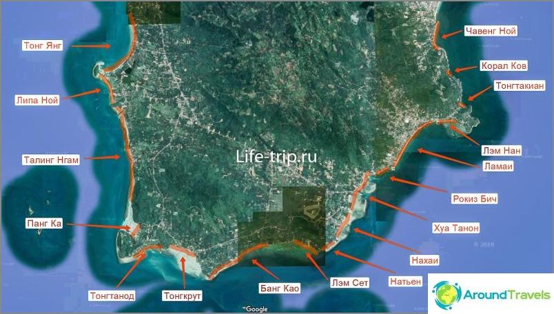 Карта на плажовете Самуи, на юг