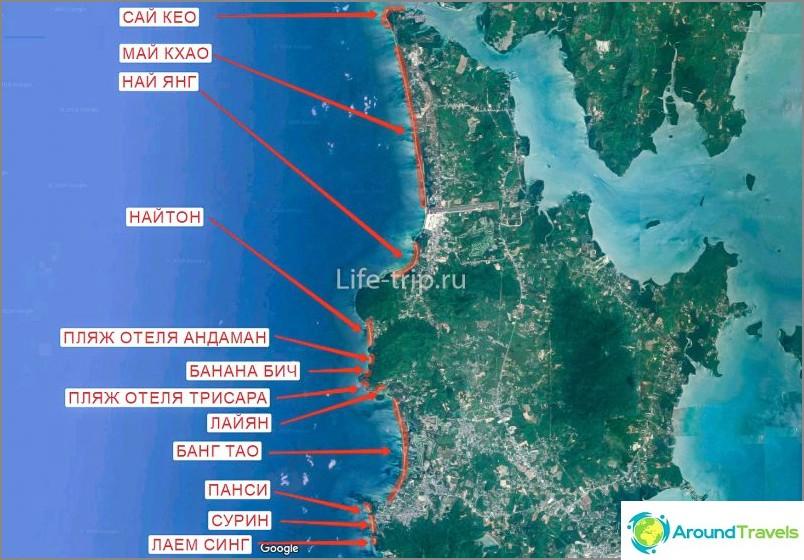 Карта на плажовете Пукет (север)