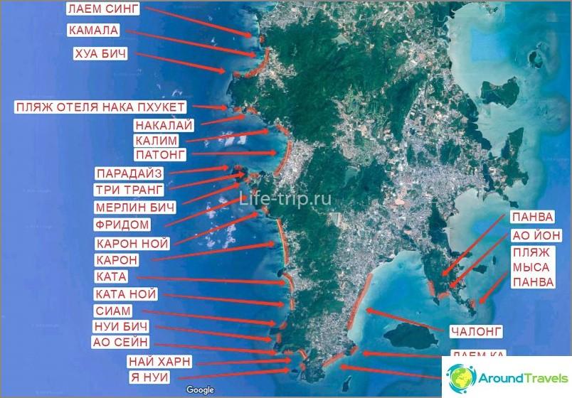 Карта на плажовете Пукет (юг)