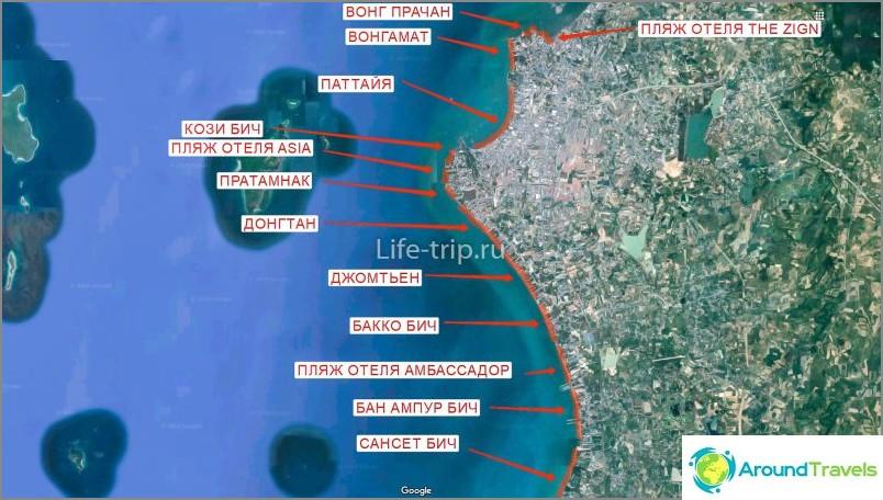 Kartta Pattayan rannoista (pohjoinen)