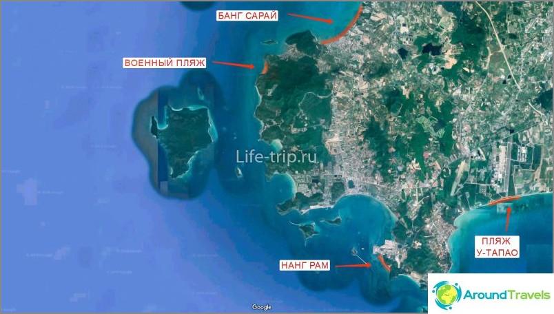 Kartta Pattayan rannoista (etelä)