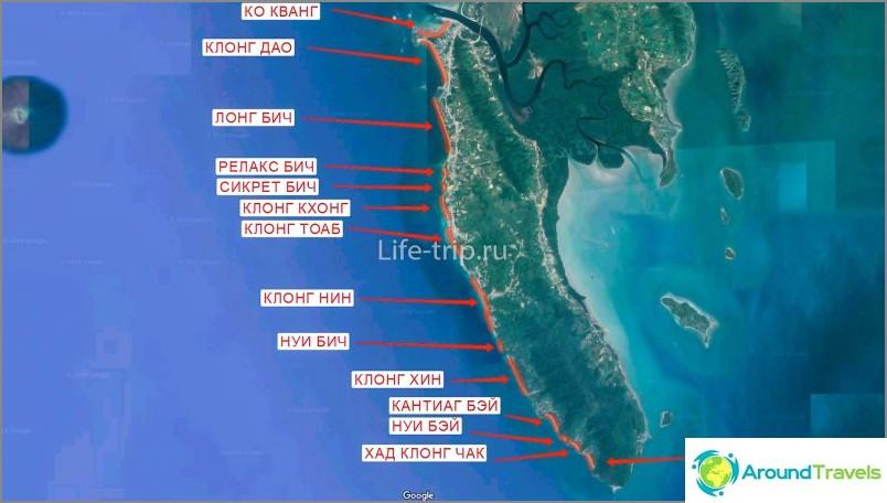 Kartta Ko Lantan rannoista