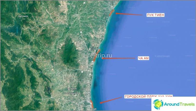 Hua Hinin rantojen (pohjoinen) kartta