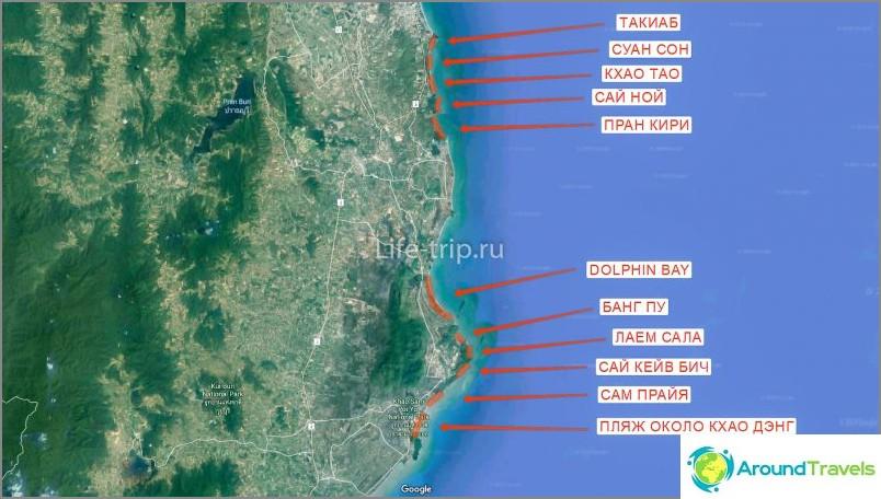 Kartta Hua Hinin rannoista (etelä)