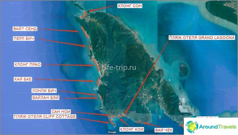 Kartta Koh Changin rannoista