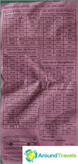 Разписание на въздушния автобус Nakonchai