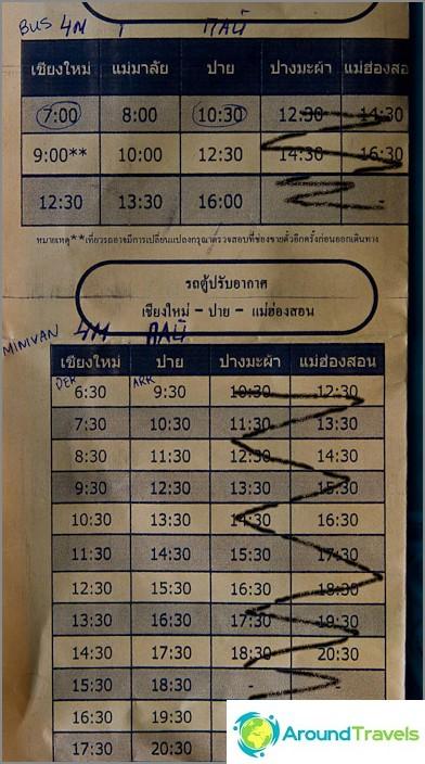 Bussi- ja minibussi aikataulut välillä Chiang Mai - Pai