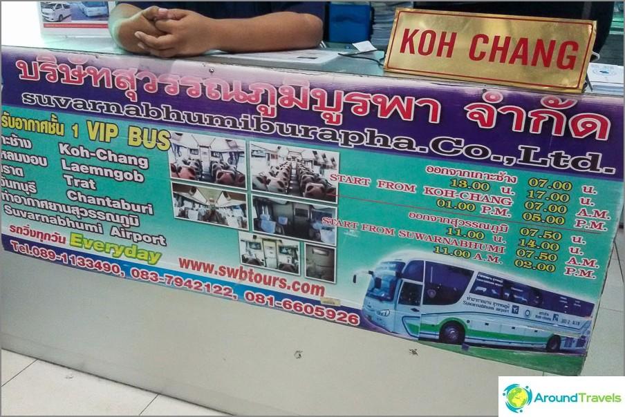 Minibussit ja bussit Koh Changiin Bangkokin lentokentältä