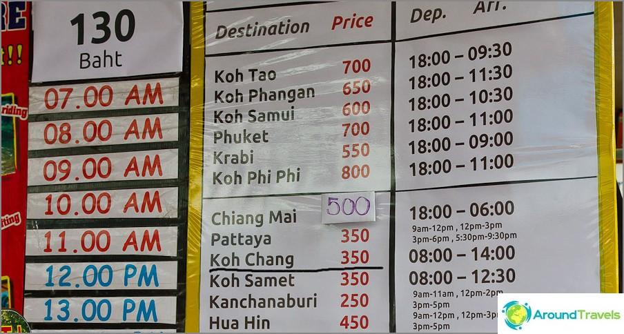 Kuljetus Bangkok - Koh Chang Khaosanista