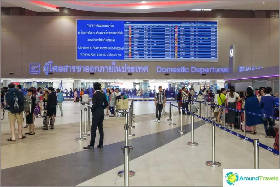 Летище Дон Муанг, зона на заминаване, вътрешен терминал