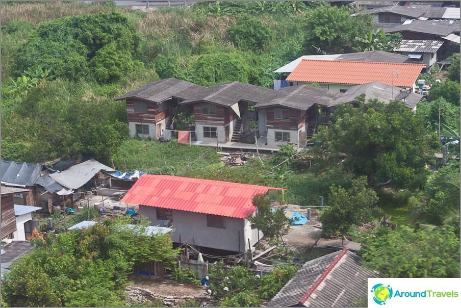 Vaatimattomia taloja Bangkokin laitamilla