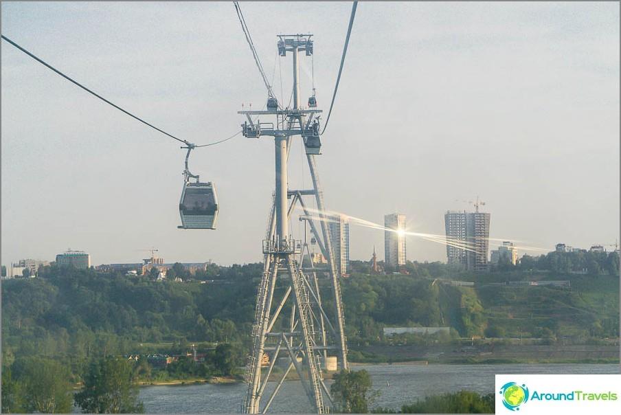 Въжена линия в Нижни Новгород - изглед към горната част на града