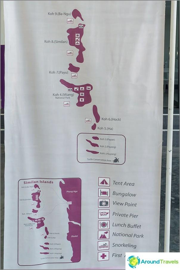 Similan saaret kartalla