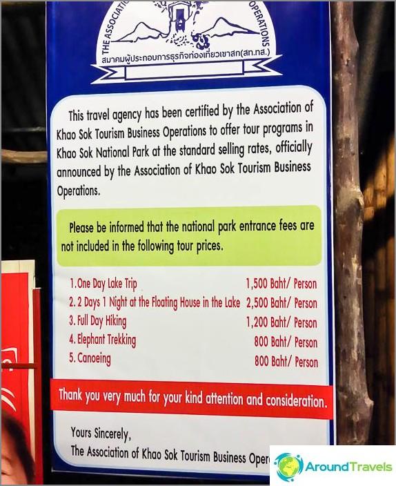 Varoitus hotellissa matkojen kustannuksista Cheo Laniin