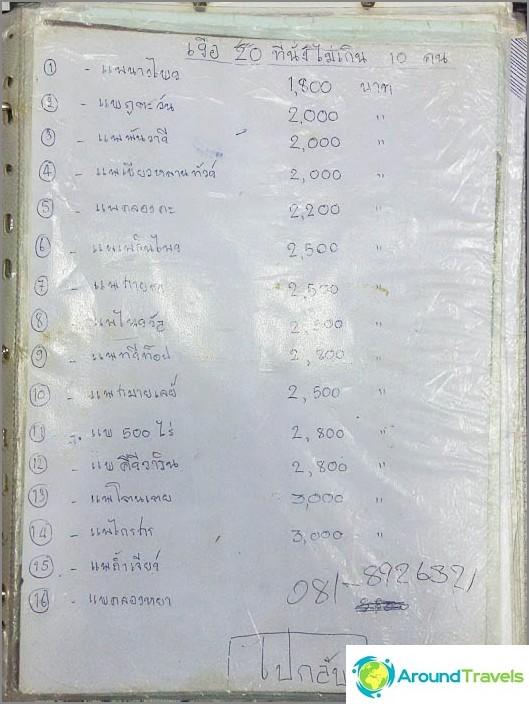 Tässä on sellainen thaimaalainen luettelo Information lähellä laituria