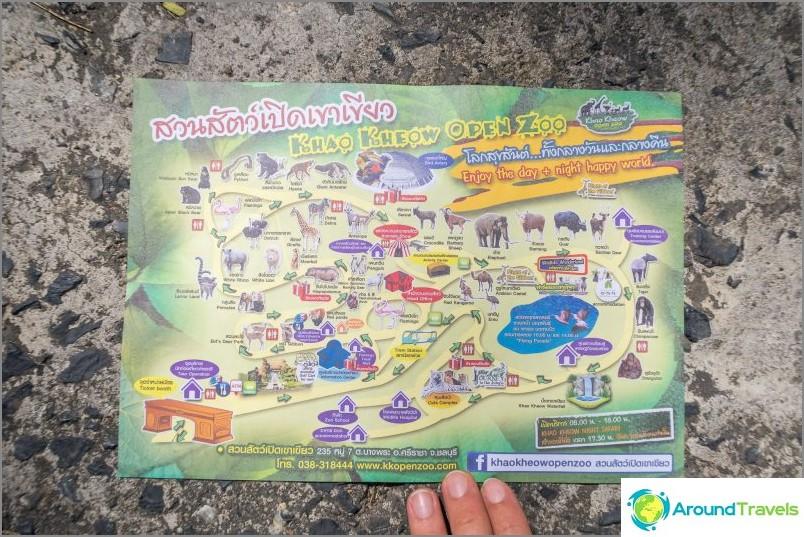 Kartta Khao Kheon eläintarhasta