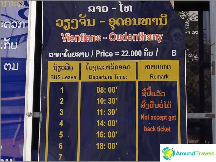 Bussiaikataulu Vientiane - Udontani